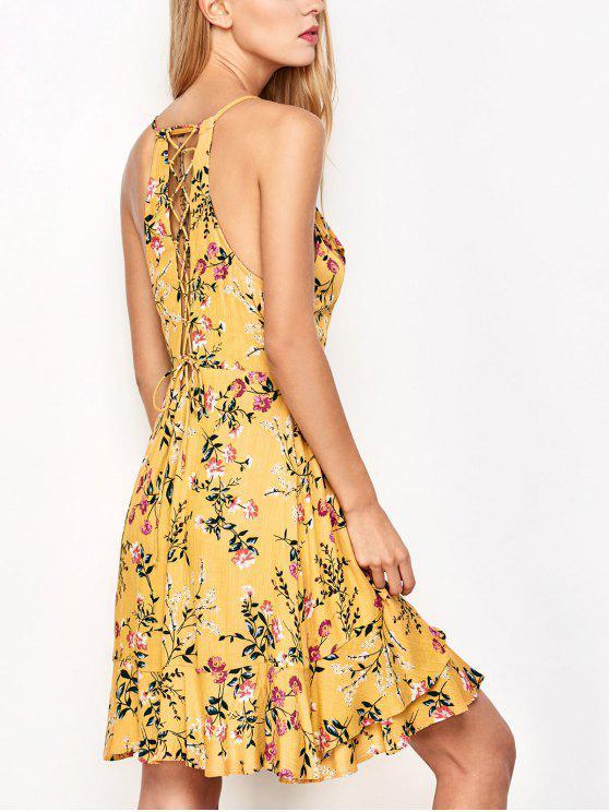 Robe jaune d'impression avec des bretelles et des lacets - Jaune L
