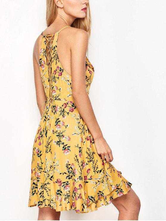 outfit Crossover Floral Print Cami Dress - YELLOW M
