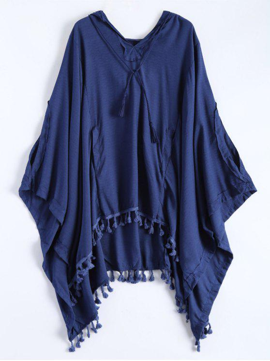 hot Hooded The Endless Poncho - DEEP BLUE M