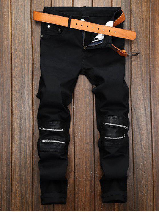 انغلق الساق الجيب مستقيم السراويل - أسود 34