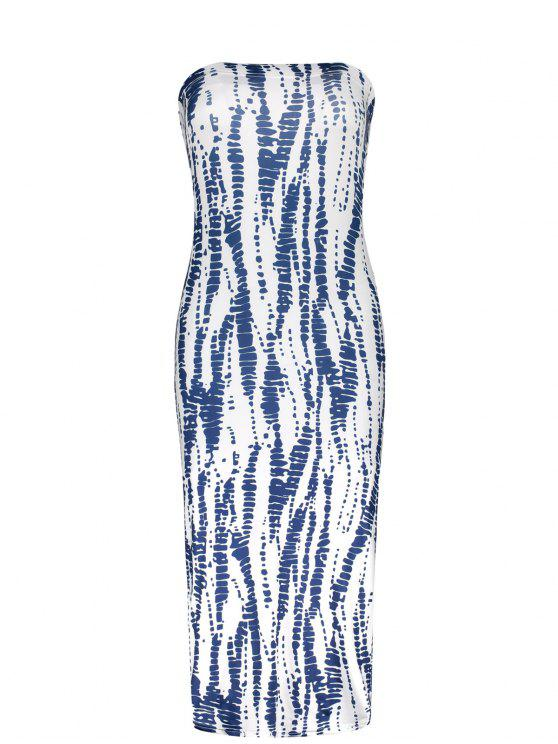 hot Strapless Tube Bodycon Dress - BLUE AND WHITE ONE SIZE