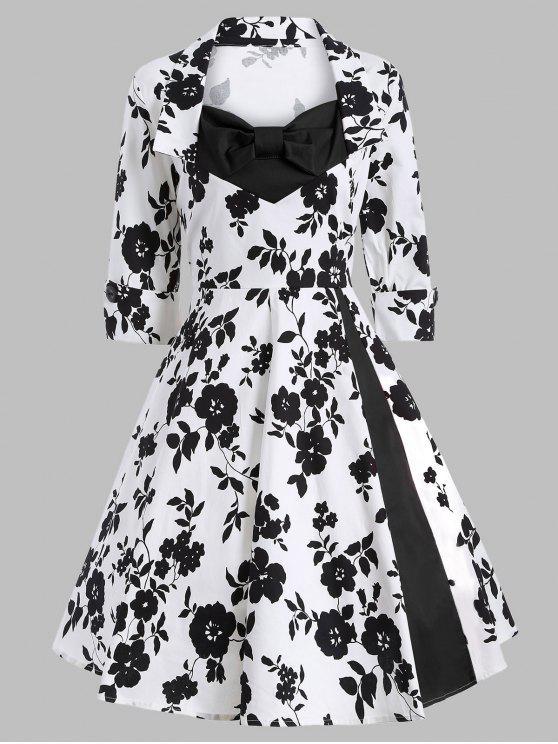 Robe Vintage imprimée bouffante à Manches 3/4 embellie nud papillon - Blanc et Noir 2XL