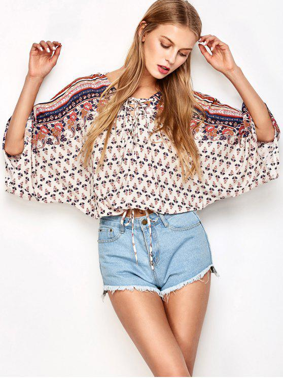chic Lace Up Dolman Sleeve Blouson Top - OFF-WHITE M