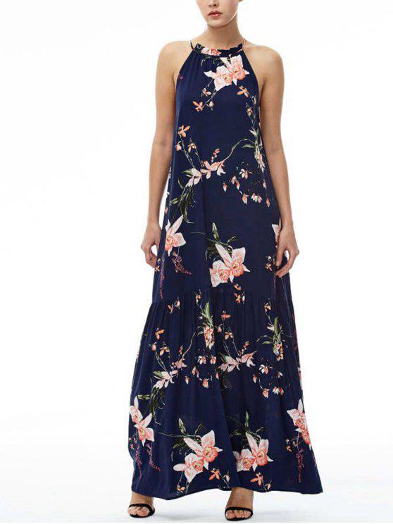fancy Maxi Floral Beach Dress - NAVY BLUE S