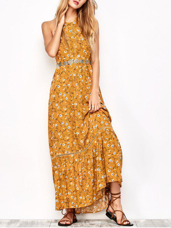 hot Halter Maxi Tiny Floral Beach Dress - YELLOW OCHER S