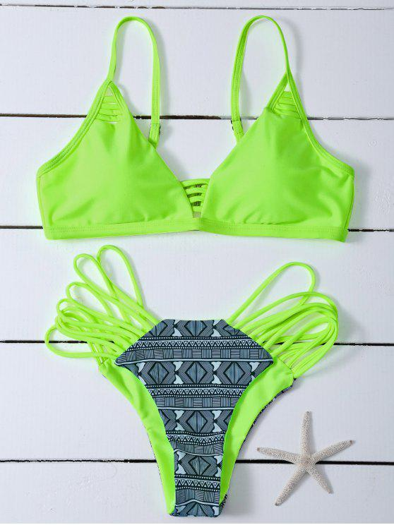 trendy Reversible Printed Bikini Set - NEON GREEN M