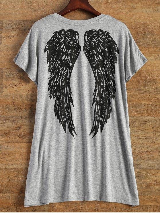 Carta del ala impresión de manga corta camiseta - Gris Un tamaño(Montar tam