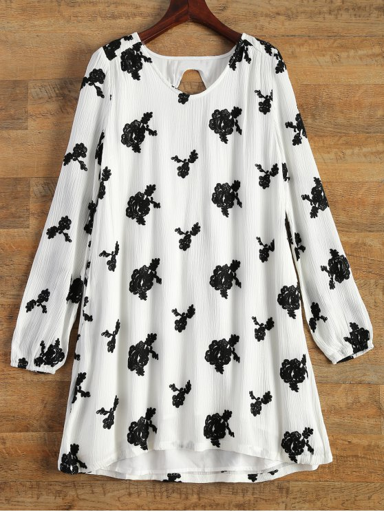 buy Floral Embroidered Tunic Dress - WHITE S