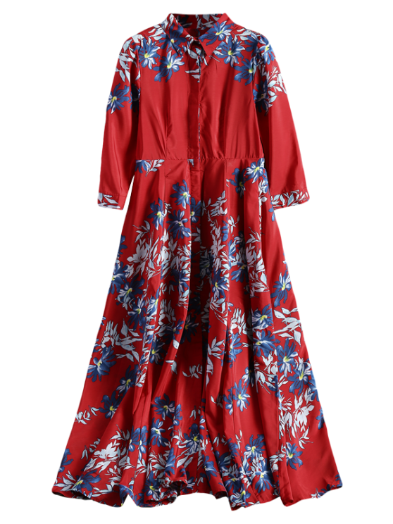 ladies Maxi Button Up Floral Shirt Dress - RED S