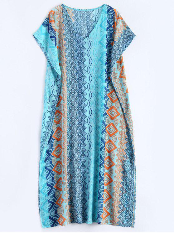 hot Geometric Print Chiffon Kaftan Cover Up - LAKE BLUE