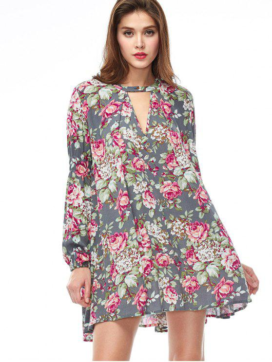 latest Keyhole Floral Print Swing Dress - FLORAL M