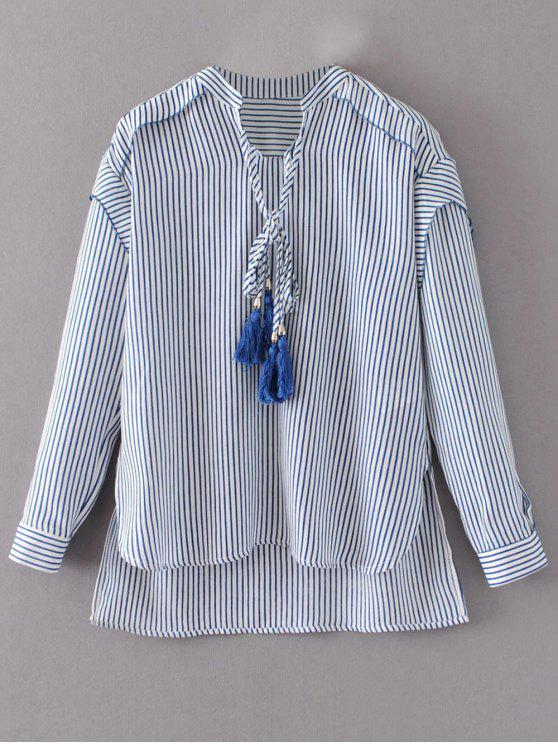 chic Tie Neck High Low Tassel Striped Blouse - STRIPE S