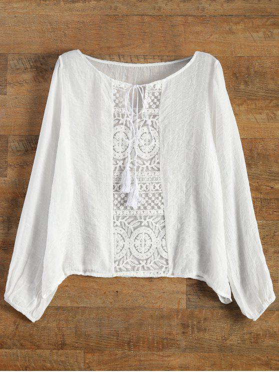new Lace Panel Tied Tassel Sheer Top - WHITE M