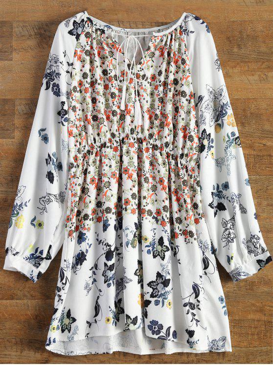 fancy V-Neck Tiny Floral Tunic Dress - WHITE S