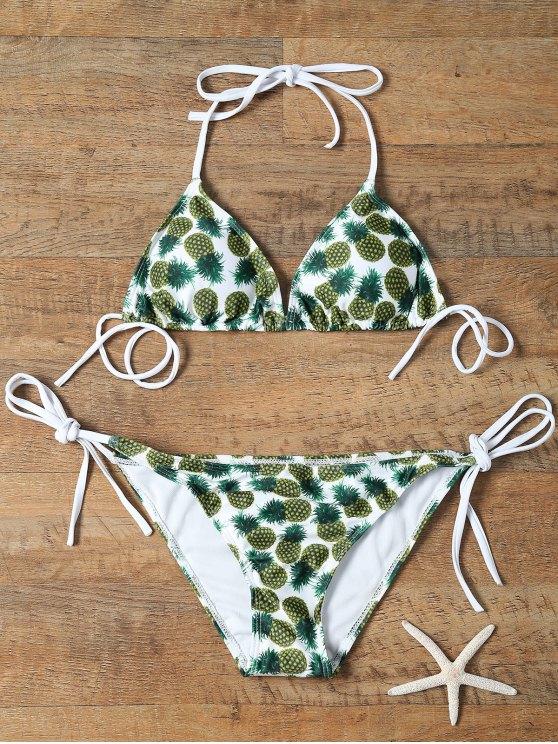women's Pineapple Print Tie-Side Padded Bikini Set - COLORMIX XL