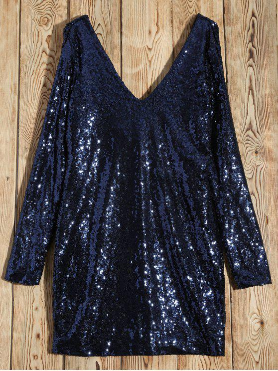 ladies Long Sleeved Sequins Mini Party Dress - BLUE L