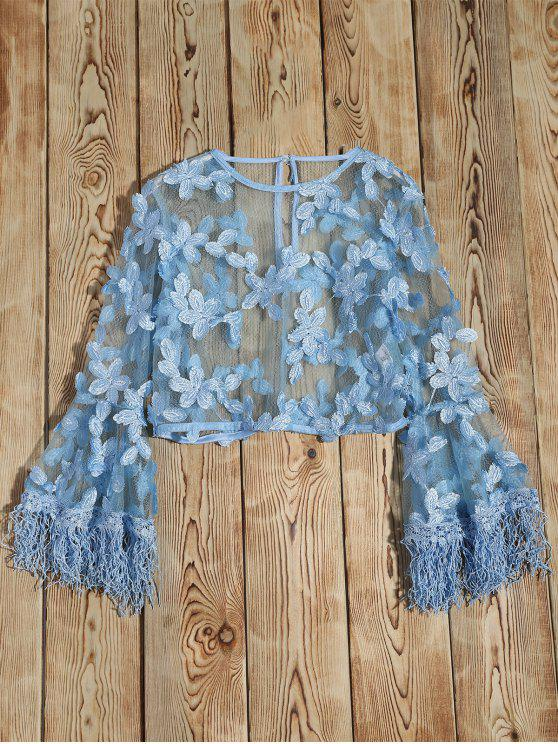 fashion fringed flare sleeve sheer lace top light blue s