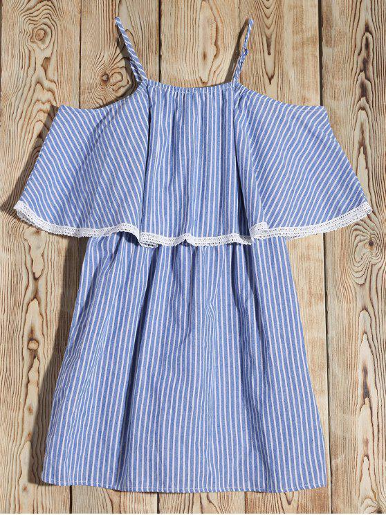 ladies Stripe Cold Shoulder Casual Dress - BLUE M