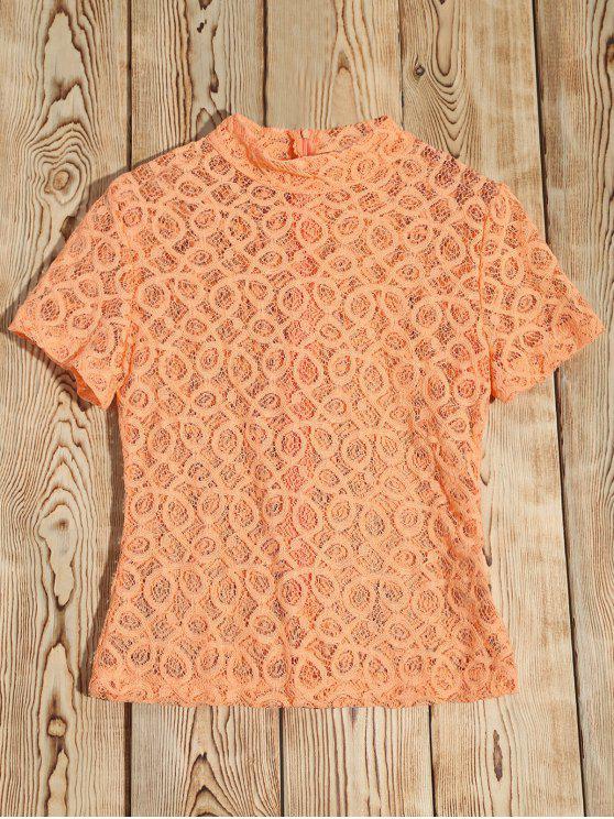 Sheer haut en dentelle T-shirt col - Orange Rose M