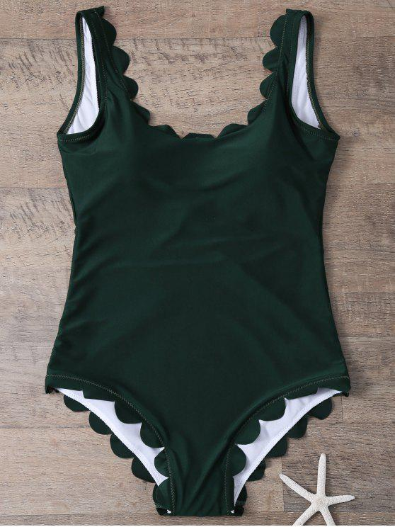lady Scalloped U Neck One-Piece Swimwear - DEEP GREEN M