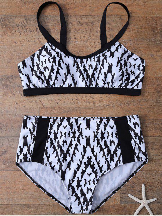 705e7bfa76b Printed High Waist Plus Size Bikini Set - White And Black Xl