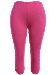 Plus Size Supper Stretchy Ruched Capri Sporty Pants - Rose Madder Xl