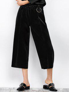 Velvet Cropped Wide Leg Pants - Black