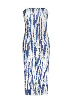 Strapless Tube Bodycon Dress - Blue And White