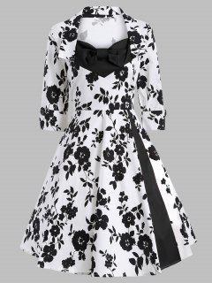 Vintage Printed Swing Dress - White And Black 2xl