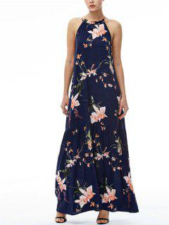 Maxi Floral Beach Dress - Navy Blue M
