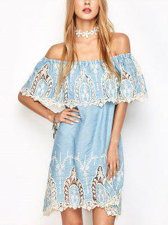 Crochet Off The Shoulder Overlay Dress - Light Blue S