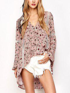 Impresión Floral Vestido De Boho Oscilación - Rosa M