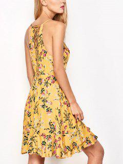Vestido Cruzado Floral De Tirantes Finos Con Volantes - Amarillo M