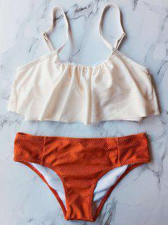 Color Block Covered Bikini Set - Orange M