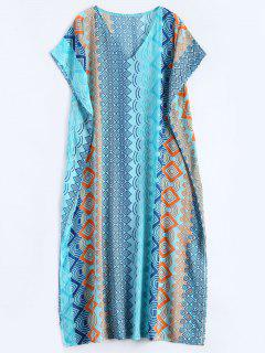 Geometric Print Chiffon Kaftan Cover Up - Lake Blue