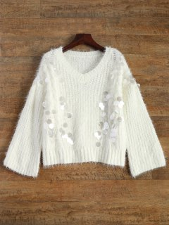 Paillettes V Neck Jumper - Blanc