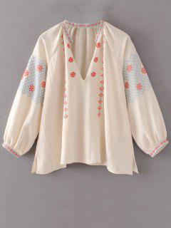 Oversize Manches Bouffantes Top Brodé - Rose Abricot Clair M