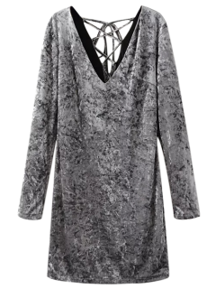 Lace Up Long Sleeve Velvet Dress - Gray S