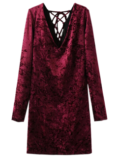Lace Up Long Sleeve Velvet Dress - Wine Red L