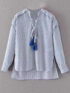 Tie Neck High Low Tassel Striped Blouse - Stripe S