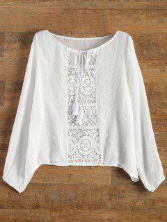 Lace Panel Tied Tassel Sheer Top - White L