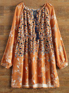 V-Neck Tiny Floral Tunic Dress - Yellow S
