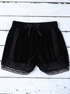 Elastic Lace Trim Velvet Shorts - Black S
