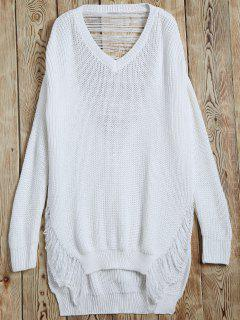 Ripped V Neck Slit Sweater - White S