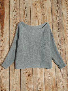 Asymmetrical Neckline Batwing Sweater - Gray S