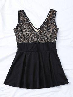 V Neck Lace Insert Mini Dress - Black S