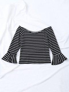 Bell Sleeve Off The Shoulder Striped T-Shirt - Black M