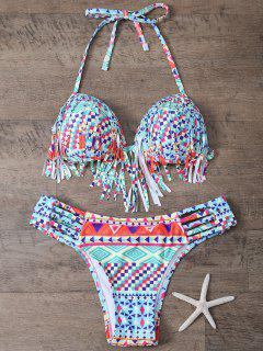 Cutout Printed Tassels Bikini Set - Light Blue L