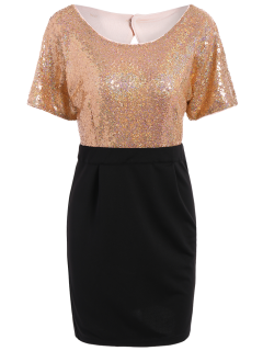 Sequined Two Tone Sheath Dress - Black And Pink L