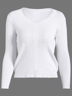 Basic Pullover Sweater - White S